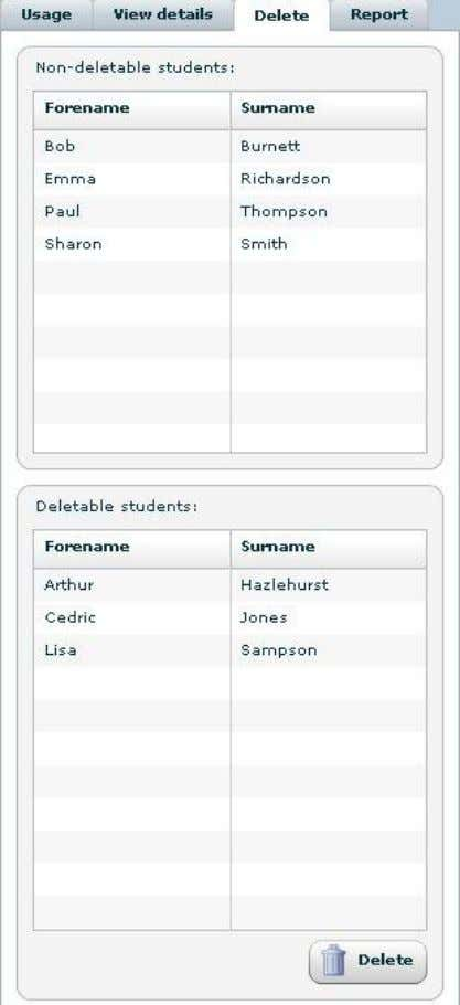 The lower section of the tab will display all students that can be deleted. 31 ©