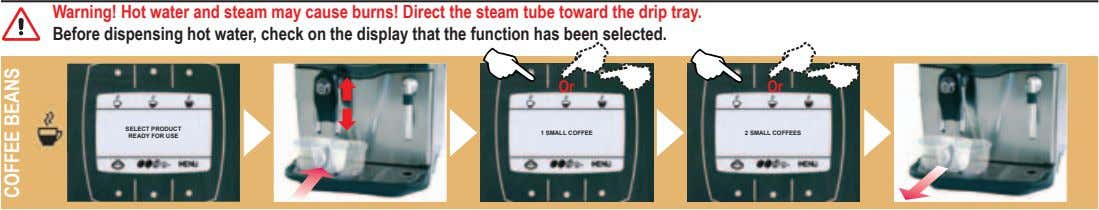 Warning! Hot water and steam may cause burns! Direct the steam tube toward the drip