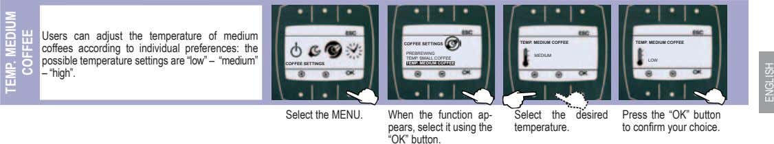 Users can adjust the temperature of medium coffees according to individual preferences: the possible temperature