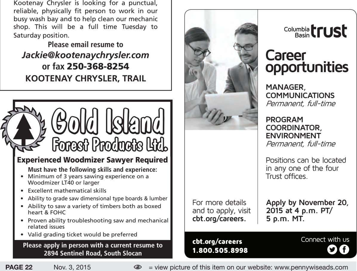 Kootenay Chrysler is looking for a punctual, reliable, physically fit person to work in our