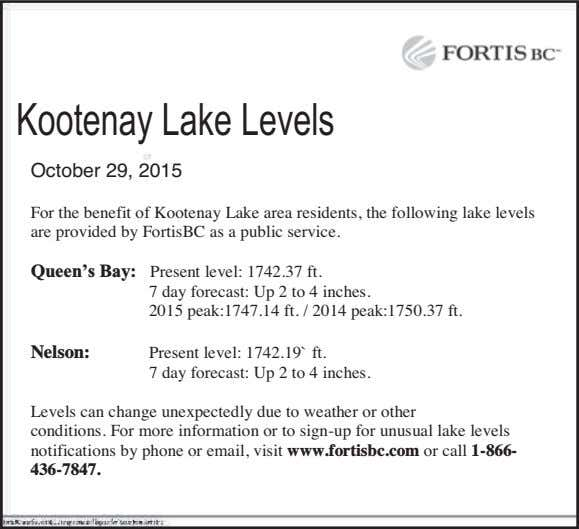 Kootenay Lake Levels October 29, 2015 For the benefit of Kootenay Lake area residents, the