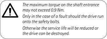 The maximum torque on the shaft entrance may not exceed 0.9 Nm. Only in the