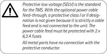 Protective low voltage (SELV) is the standard for the TMS. With the optional power cable