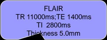 FLAIR TR 11000ms;TE 1400ms TI 2800ms Thickness 5.0mm