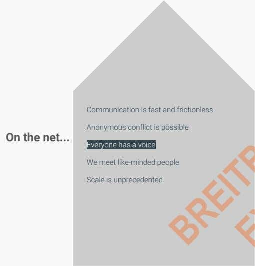 Communication is fast and frictionless Anonymous conflict is possible On the net Everyone has a