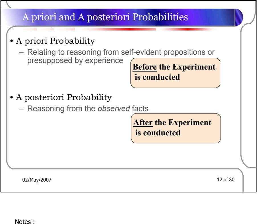 A priori and A posteriori Probabilities • A priori Probability – Relating to reasoning from