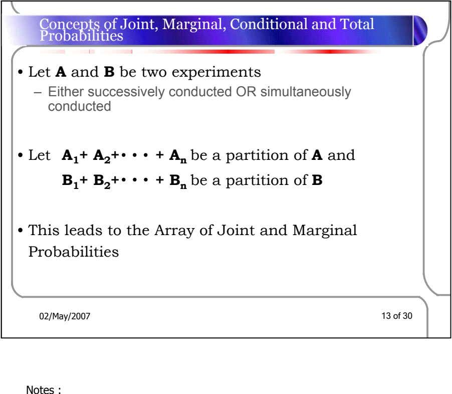 Concepts of Joint, Marginal, Conditional and Total Probabilities • Let A and B be two