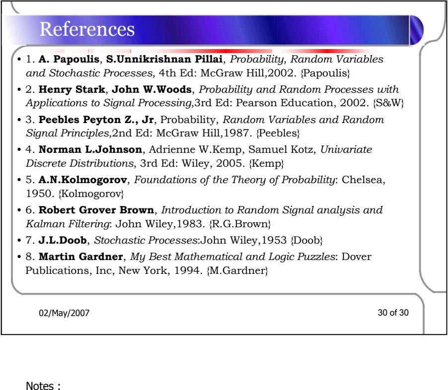References • 1. A. Papoulis, S.Unnikrishnan Pillai, Probability, Random Variables and Stochastic Processes, 4th Ed: