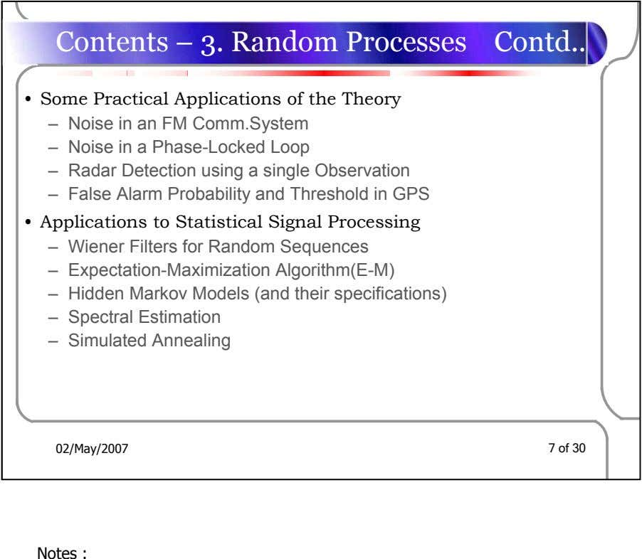 Contents – 3. Random Processes Contd • Some Practical Applications of the Theory – Noise