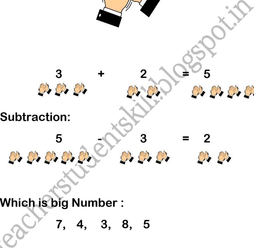 3 + 2 = 5 Subtraction: 5 - 3 = 2 Which is big Number