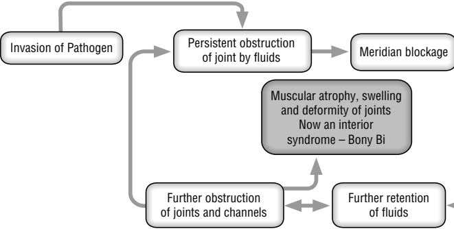 Persistent obstruction Invasion of Pathogen Meridian blockage of joint by fluids Muscular atrophy, swelling and