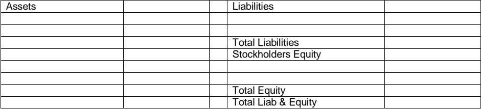 Assets Liabilities Total Liabilities Stockholders Equity Total Equity Total Liab & Equity