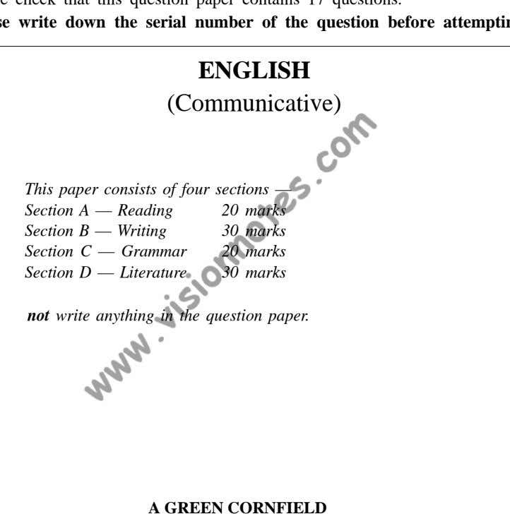 ENGLISH (Communicative) This paper consists of four sections — Section A — Reading 20 Section