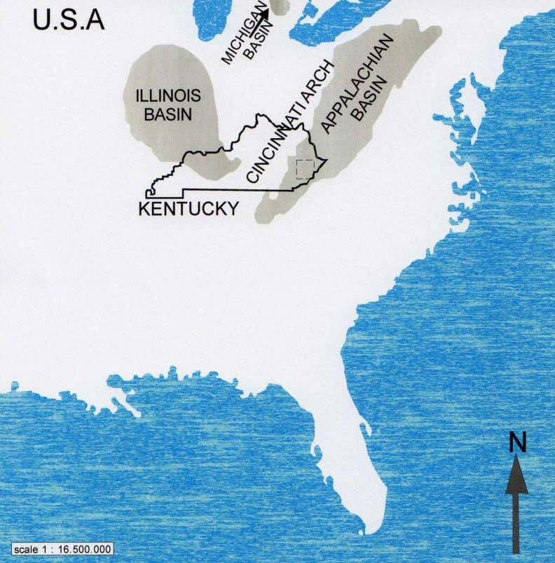6 Fig. 1.1. Location map of the three major Paleozoic basins (Illinois, Michigan and the Appalachian)