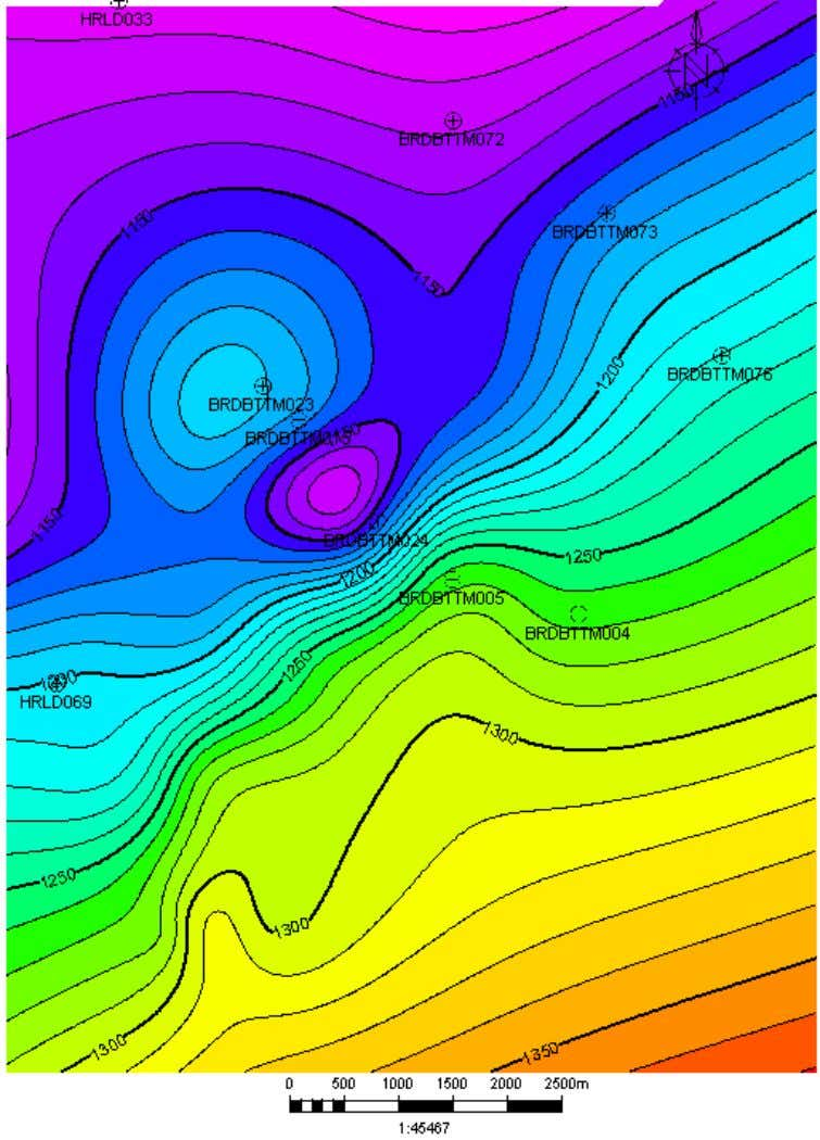 140 Fig. 10.16. (a) A composite of topographic map of surface HDX A and boreholes that