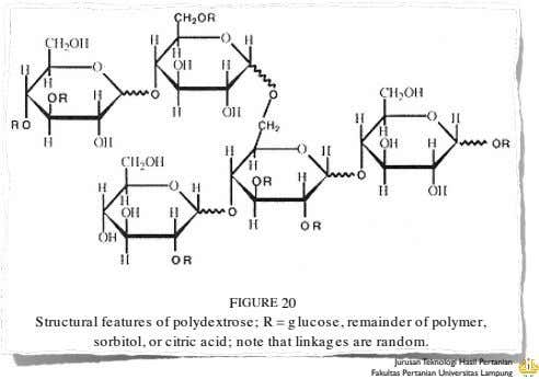 FIGURE 20 Structural features of polydextrose; R = g lucose, remainder of polymer, sorbitol, or