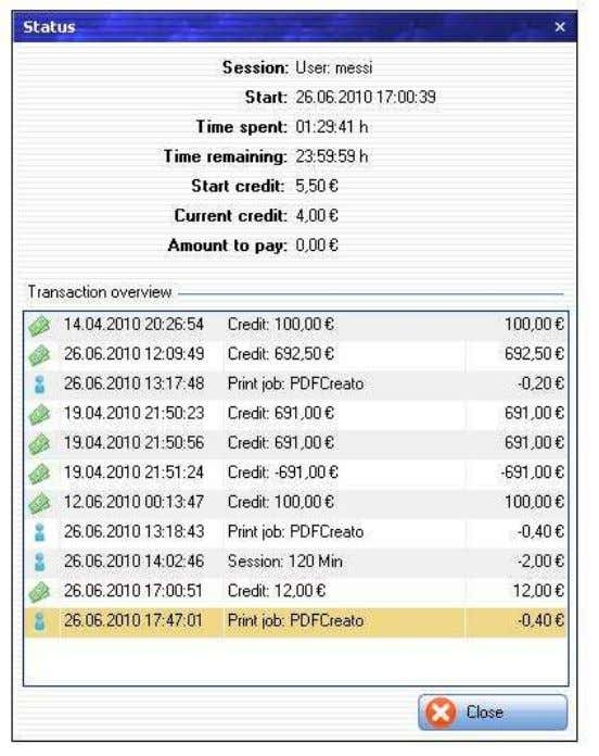 MyCyberCafe und SiteCharge Benutzerhandbuch 3.4.5 Status The transaction overview will show all statistical information