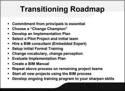 "Transitioning Roadmap  Commitment from principals is essential  Choose a ""Change Champion""  Develop"