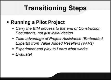 Transitioning Steps  Running a Pilot Project  Carry the BIM process to the end