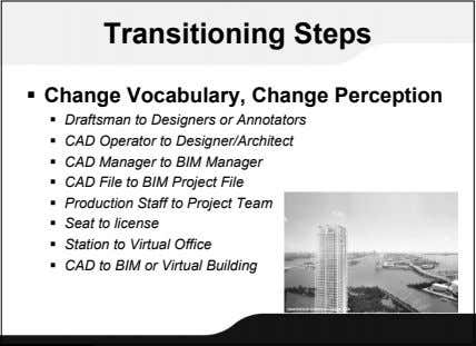 Transitioning Steps  Change Vocabulary, Change Perception  Draftsman to Designers or Annotators  CAD