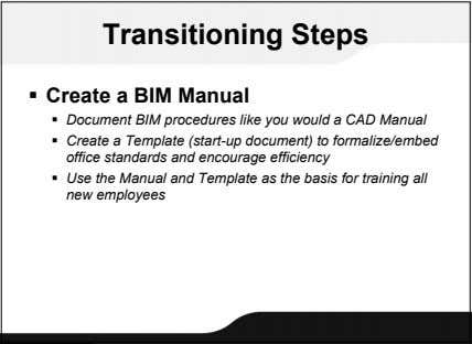 Transitioning Steps  Create a BIM Manual  Document BIM procedures like you would a