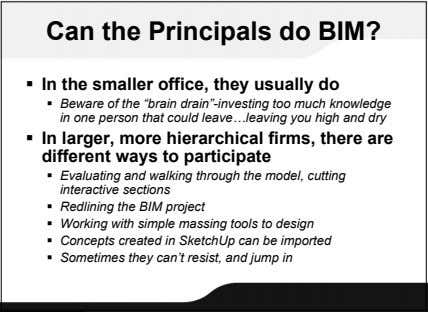 Can the Principals do BIM?  In the smaller office, they usually do  Beware