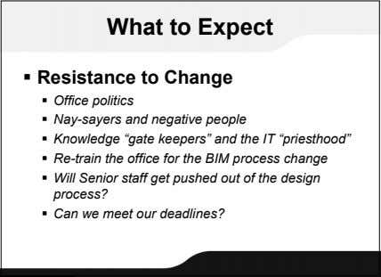 What to Expect  Resistance to Change  Office politics  Nay-sayers and negative people