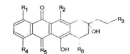 a) a 13-deoxy anthracycline of the following formula Wherein; each R1, R2 and R3 individually is