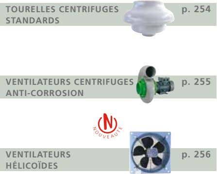 O U TOURELLES CENTRIFUGES STANDARDS p. 254 N V VENTILATEURS CENTRIFUGES ANTI-CORROSION p. 255 VENTILATEURS