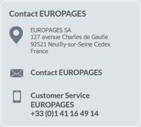 Contact EUROPAGES EUROPAGESSA 127avenueCharlesdeGaulle 92521Neuilly­sur­SeineCedex France Contact EUROPAGES