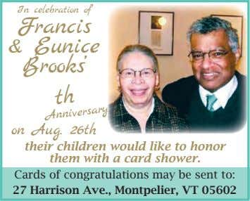In celebration of Francis & Eunice Brooks' th on Aug. 26th Anniversary their children would like