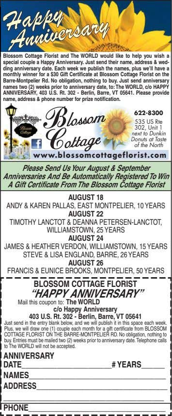 Happy Anniversary Blossom Cottage Florist and The WORLD would like to help you wish a special