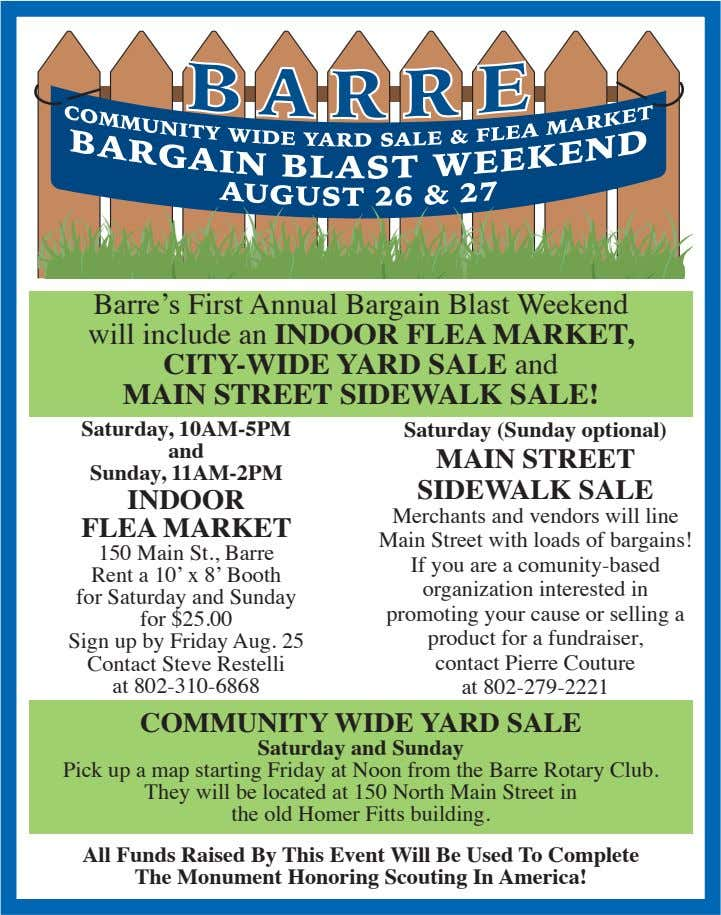 Barre's First Annual Bargain Blast Weekend will include an INDOOR FLEA MARKET, CITY-WIDE YARD SALE and