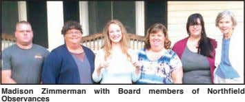 Madison Zimmerman with Board members of Northfield Observances