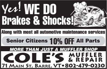 WE DOoo Brakes & Shocks! Along with most all automotive maintenance services Senior Citizens 10% OFF