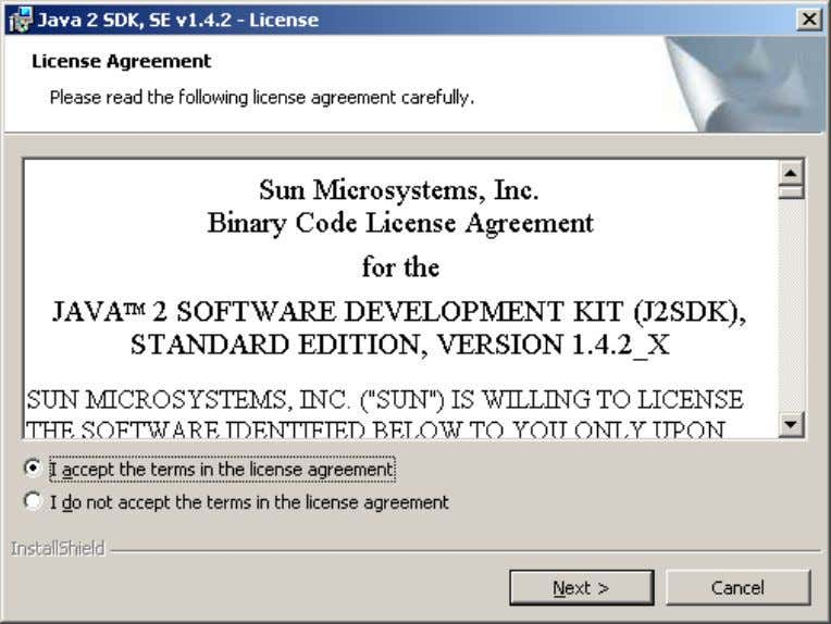 Choisir « I accept the terms in the license agreement » et faire « Next »