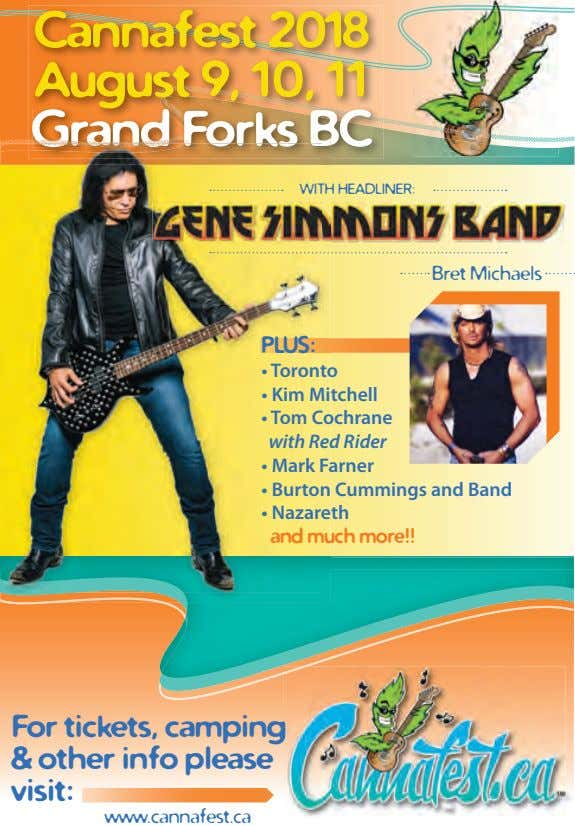 Cannafest 2018 August 9, 10, 11 Grand Forks BC WITH HEADLINER: Bret Michaels PLUS: •