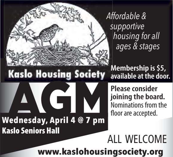 Affordable & supportive housing for all ages & stages Membership is $5, available at the