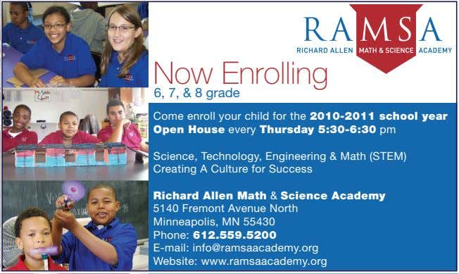 Now Enrolling 6, 7, & 8 grade Come enroll your child for the 2010-2011 school
