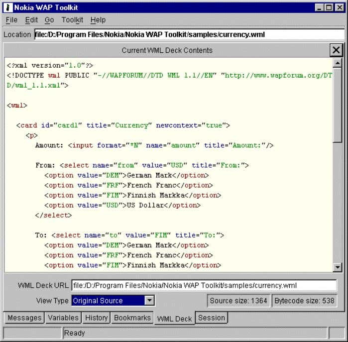 Getting Started Nokia WAP Toolkit Original source. The next figure shows the undecoded bytecode view of