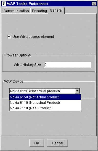 Nokia WAP Toolkit Getting Started n To enable the use of the WML access element, check