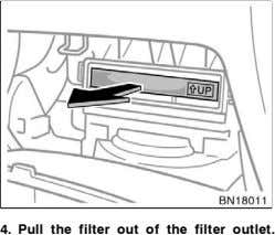 4. Pull the filter out of the filter outlet.