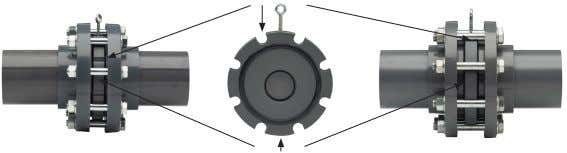 • Centring over the external diameter of the valve Cut-out ANSI flange adaptors External diameter ISO/DIN
