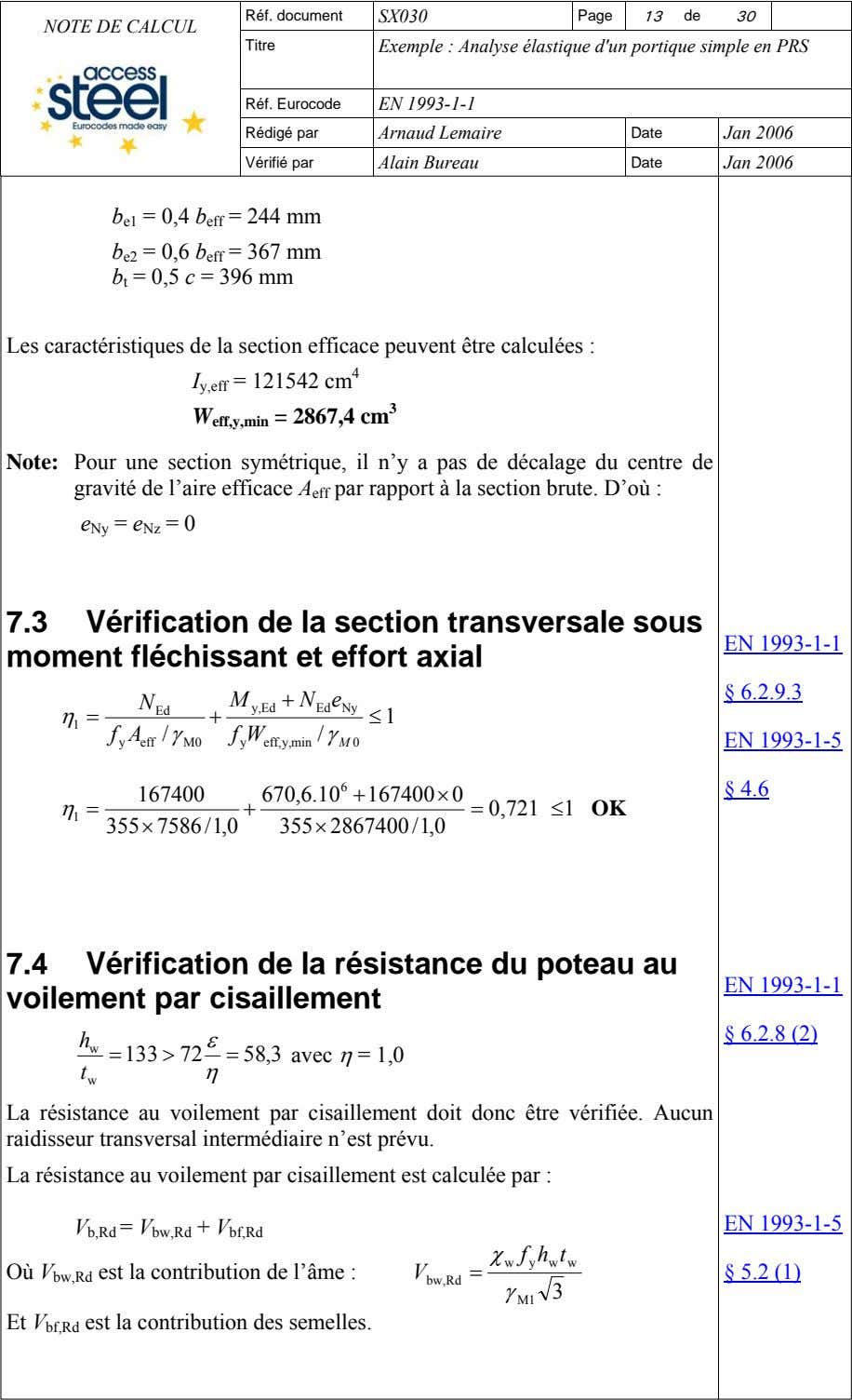 Réf. document SX030 Page 13 de 30 NOTE DE CALCUL Titre Exemple : Analyse élastique