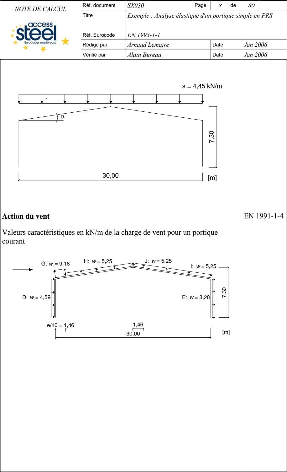 Réf. document SX030 Page 3 de 30 NOTE DE CALCUL Titre Exemple : Analyse élastique