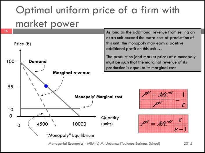 Optimal uniform price of a firm with market power 15 Price (€) As long as the