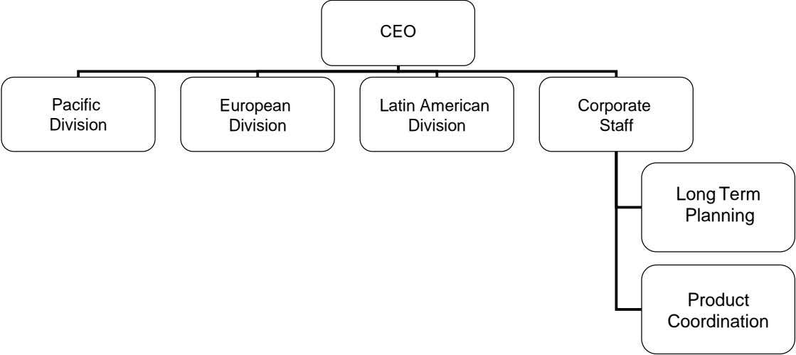 CEO Pacific European Latin American Corporate Division Division Division Staff Long Term Planning Product