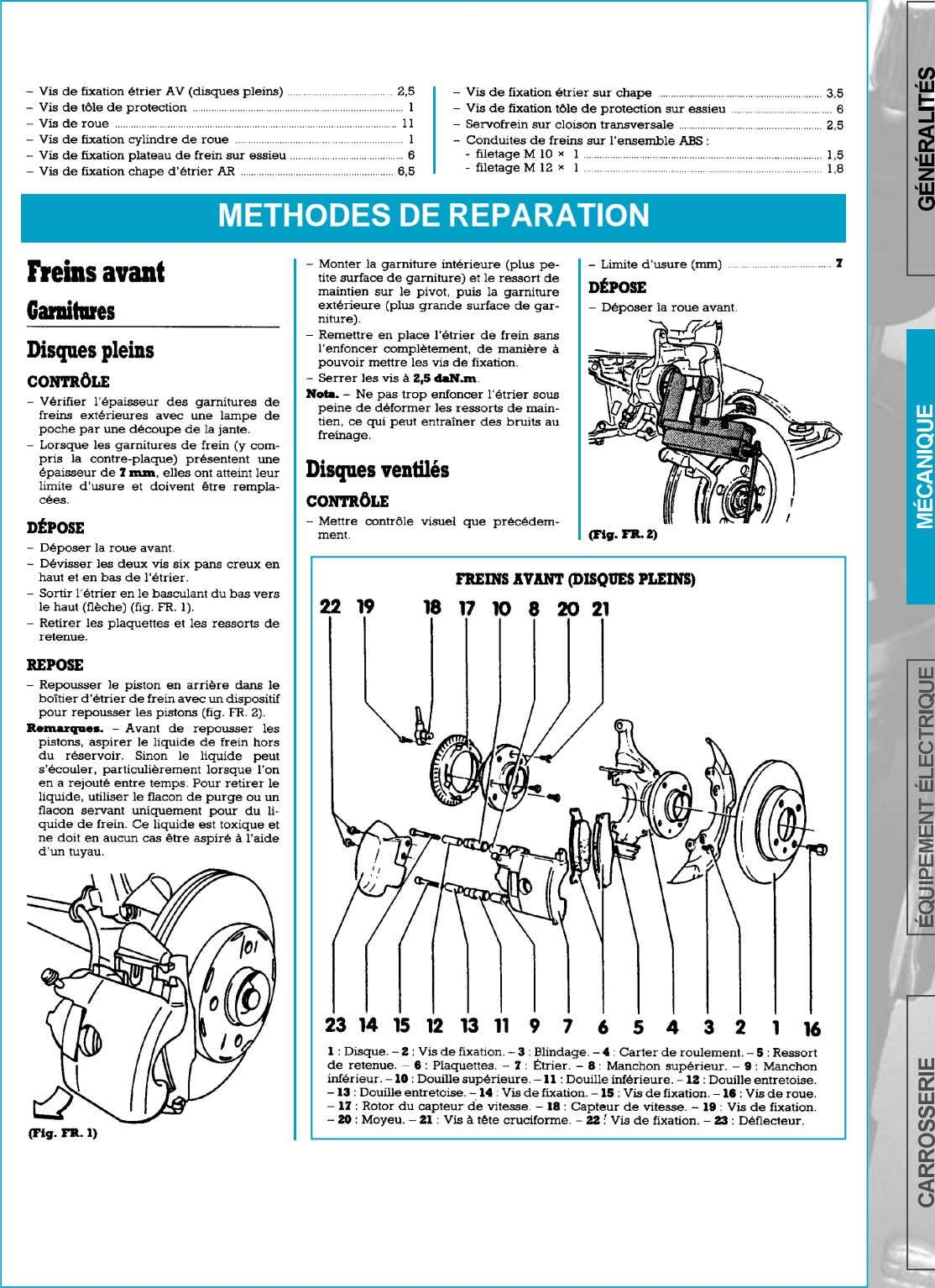 METHODES DE REPARATION