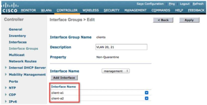 3. Go to the WLANs tab and create the client SSID. Select the interface group