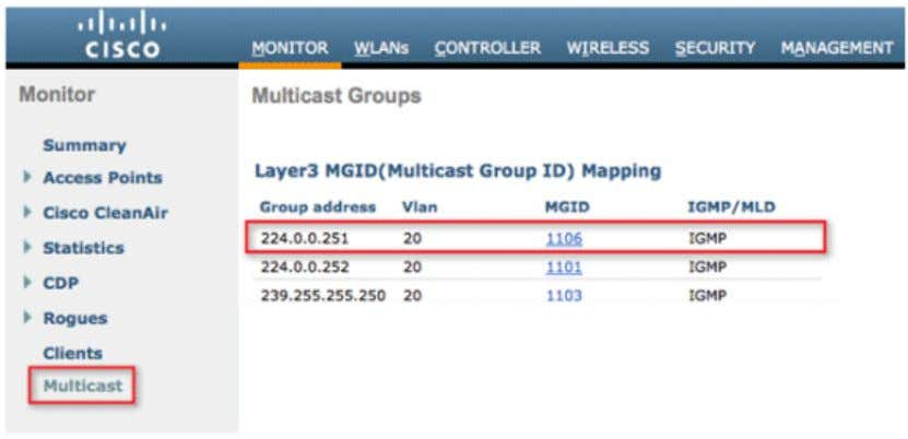 to view the clients which are joined to the Bonjour group. Tune Multicast Data Rates Multicast